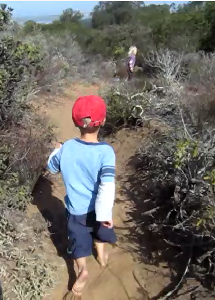 Barefoot trail running with the grandkids