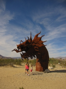 The granddaughters thought the local sculptures were pretty wild too.