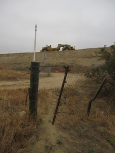 At the end of the Round Canyon dirt road/trail:  earth movers roar and zoom at the Bowerman Landfill.