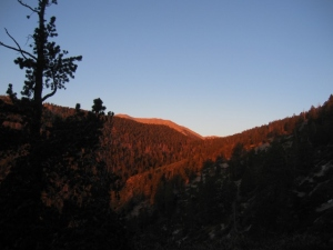 "Mt. San Gorgonio at sunrise: ""Old Greyback"" glows orange for a few minutes."