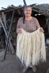 Above is an image of Paipai elder Teresa Castro, an internationally renowned weaver and potter, holding a skirt she wove with yucca fibers from a Yucca shidigera.