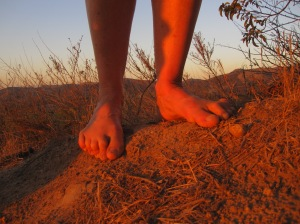 Barefoot in the golden glow of October sunset at Irvine Park