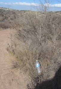 It is NEVER okay to just chuck your crappy plastic trash along the trail, whoever you are.