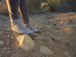 The sock-things seemed fine going up and down steep and rocky trails