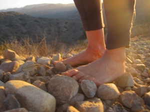 bare feet on the rocks