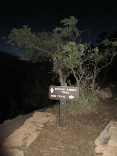 Oh-dark-thirty at the Bright Angel Trailhead. There's the faintest of light on the horizon . . . it's not quite 5 am.