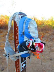 My Nathan pack makes it possible to strap on Sockwas and trail trash.