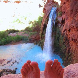 Toes above Havasu Falls