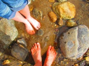 When we finally reached the stream in Palm Canyon,  I celebrated with one of my granddaughters by cooling our toes.