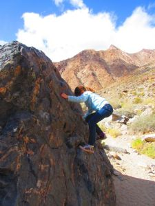 This granddaughter made a point of scaling every boulder she could along the trail.