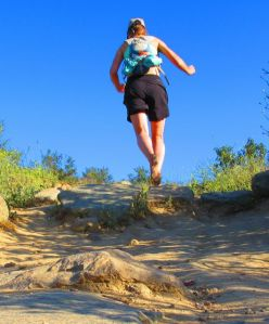 Running barefoot uphill is completely different than shod; the lack of weight on your feet makes it possible to actually fly . . .