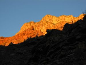 Grand Canyon sunrise from below