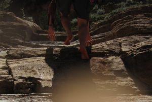 Barefoot stream scrambling