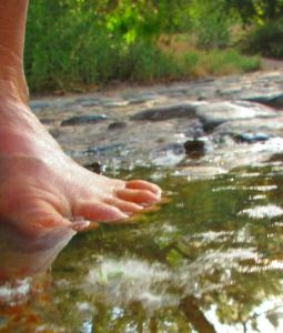 Barefoot in Santiago Creek.