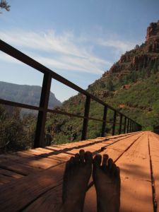 bare feet and Redwall Bridge