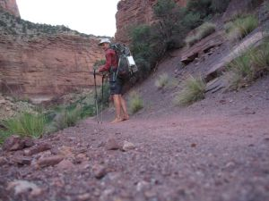 barefoot backpacking on the North Kaibab Trail