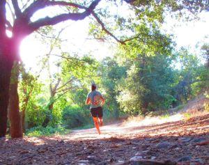 barefoot running under oaks