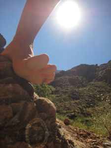 bare foot on rock at Grand Canyon