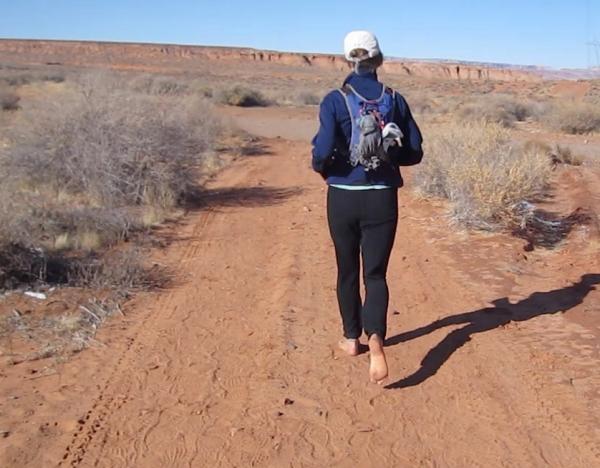 barefoot desert road running