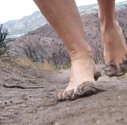 barefoot mud running