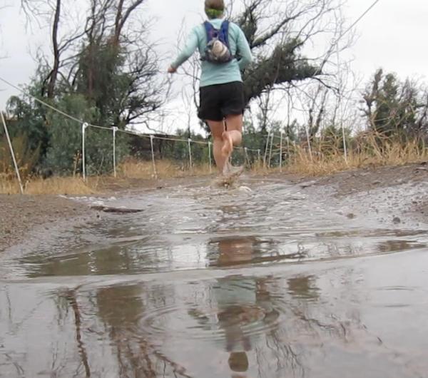 running away barefoot