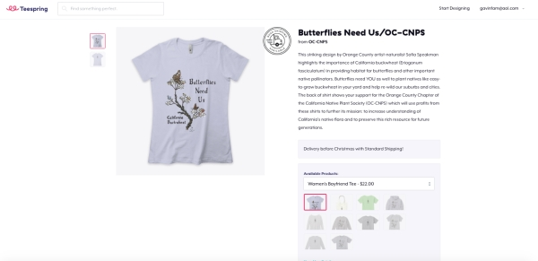 front of t shirt butterflies