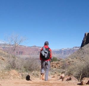 hiking bright angel trail barefoot