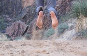 jumping for joy bright angel trail barefot