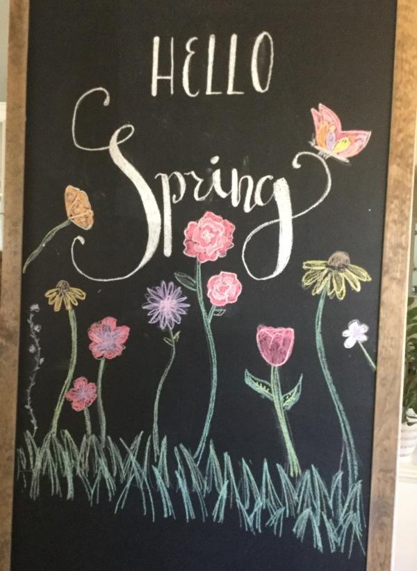 Hello Spring chalkboard