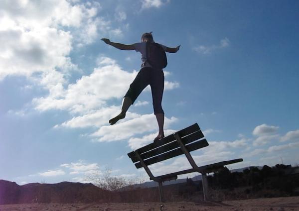 barefoot balancing on bench